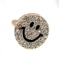 Gold Tone Crystal Happy Smiley Face Adjustable Ring