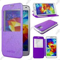 Housse Etui Coque Flip View Cover Portefeuille Violet Samsung Galaxy S5 G900 F