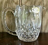 """The European Collection 24% Lead Crystal Creamer Pitcher Yugoslavia 3 3/4"""" Tall"""