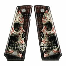 Custom 1911 Full Size Diamond Polish Ergonomic Acrylic Grips Tribal Skull