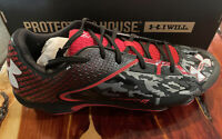 Mens Under Armour Baseball Cleats~Deception DT Low~Black-Red~Metal~1250040-061