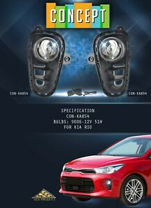 For 2018-2020 Kia Rio Fog Lights Lamps with Assembly Set L&R Side