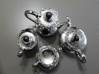 VINTAGE WILCOX INTERNATIOL SILVER ESSEX MANOR 4 PIECE SILVERPLATE TEA SET