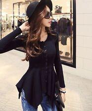 Women's Korean Style Fashion Cotton Long Sleeve Slim Waist Irregular Top Blouse