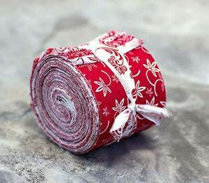 Red and White Jelly Roll 100% cotton fabric quilting 16 strips quilt strips