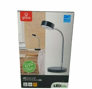 Globe Electric CO 12643 LED Desk Lamp Black Dual Voltage 120-240 Volt NEW