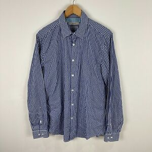 Marcs Mens Button Up Shirt Size Large Slim Blue Check Long Sleeve Collared 56.15