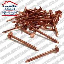25 Solid Copper Nails Clout Head Tree Stump Killer Roofing DIY 7 Sizes Available