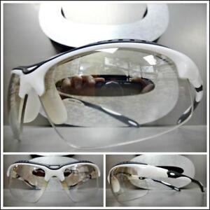 Men's WRAP AROUND SPORTY CYCLING SUN GLASSES Clear Lens Slight Tint White Frame