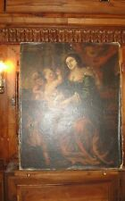 ANTIQUE FRENCH 19thC OIL PAINTING LADY CHERUBS ANGELS CHILDREN MUSICAL PIANO