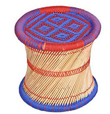 Handcraft Cane Bar Mudha stool Outdoor/Indoor/Furnishing/Color:BLUE RED vintage