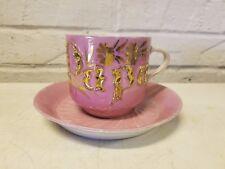 "Mid Century German Porcelain ""Papa"" Mustache Mug & Saucer with Pink & Gold Dec."