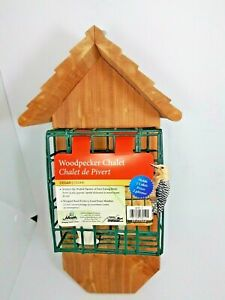 Woodpecker Chalet Cedar Wood Holds 2 Cakes attracts birds Heath Outdoor Products