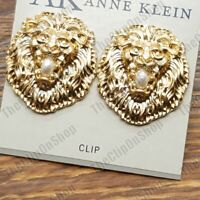 CLIPS//STUD Large 3cm EARRINGS big LION MEDALLION COIN filigree GOLD TONE retro