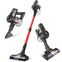 INSE Cordless Vacuum Cleaner 2-in-1 Stick Upright Compact Handheld Bagless Red