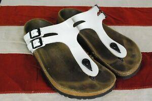 Birkis Thong Patent Leather Sandals Cork Womens Slip On Slide