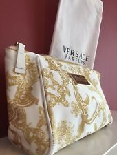 🆕VERSACE PARFUMS GOLD & WHITE COSMETIC POUCH MAKE-UP BAG Purse WITH DUST BAG