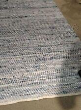 Hand Woven Denim and Leather Area Rug 5x8 Chevron Blue Coastal Decor New