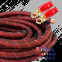 4 Gauge Red SNAKESKIN Power OFC Copper Marine Stranded Wire w/4 AWG Terminals
