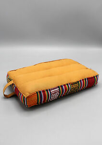 Small Meditation Pillow with Bhutanese Fabric border: Cotton meditation cushion