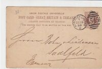 great britain 1886 Newcastle on tyne cancel 545 Mark stamps card ref 21381