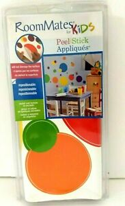 Room Mates Kids Peel & Stick Appliques Primary Color Circles USA Made