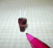 Miniature Cola Glass w/Ice & 2 Straws, IGMA DOLLHOUSE Miniatures 1/12 Scale