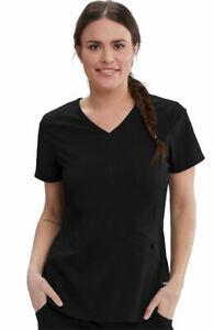 "Grey's Anatomy Spandex Stretch #013 V-Neck Detailed Scrub Top in ""Black"" Size L"