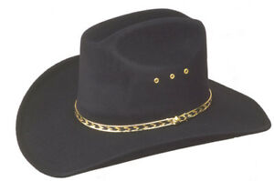 NEW! Western Black Faux Felt Cowboy Hat Elastic S/M L/XL Kids