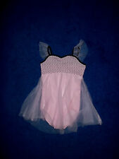 GIRLS PINK BLACK POLKA DOT DANCE SKATING GYM LEOTARD OUTFIT SIZE 4 - 5 XSMALL