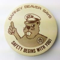 Barney Beaver Says Safety Begins With You TTC Toronto Transit Pinback Pin G806