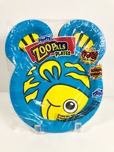 Hefty Zoo Pals Coated Paper Party Plates 20 Count Sealed Assorted Animal Designs