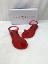 """Katy Perry """"The Gel"""" Red Heart PVC Sandals Size 5M L2319"""