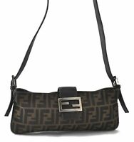 Authentic FENDI Zucca Mamma Baguette Shoulder Bag Canvas Leather Brown B5847