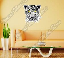 White Leopard Yellow Eyes Cat Wild Animal Wall Sticker Room Interior Decor 22""