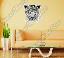 "White Leopard Yellow Eyes Cat Wild Animal Wall Sticker Room Interior Decor 22"""