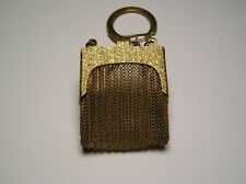 BEAUTIFUL ANTIQUE BRASS COLOR MESH ETCHED FRAME PILL PURSE WITH CHAIN