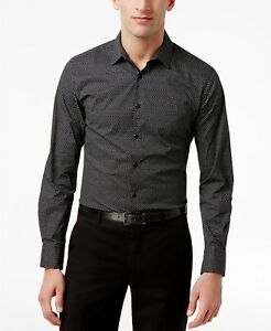 INC Men's Slim Fit Stretch Shirt , Color: Deep Black , Size: 2XL ,  MSRP 59.50$