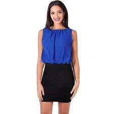 Krisp Womens Chiffon Stretch Bodycon Dress Pleated Mini Pencil Skirt Ladies Work Royal 20