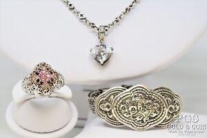Signed Sterling Silver Bracelet, Ring, Crystal Pendant on Chain 3 Pcs64.5gr22011