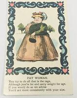 Fat Woman Offensive Humour Comic Postcard Antique Vintage