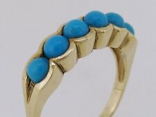 R075- Gorgeous Genuine 9K 9ct Solid Gold NATURAL Turquoise Eternity Ring size N