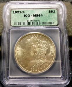 1921 S United States 1$ Silver Morgan Dollar ICG MS 64 #1265
