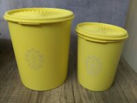 Tupperware pair of  Nesting Canisters w/ Lids 807, 811 Yellow Vintage VERY GOOD