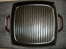 """New listing Stau 00006000 B Square Double Handled 13"""" Cast Iron Grill Pan Grenadine Used"""