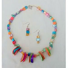 WOW SHELL Brights Multi Color NECKLACE & EARRINGS SET