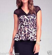 NWT bebe black leopard print mesh side cutout peplum dress top ruffle XS 0 2