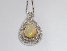 Ladies 925 Sterling Silver 2.5 Carat Ethiopian Opal and White Sapphire Necklace