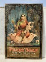 Vintage Old Pears' Soap Ad With Goddess Litho Print Tin Sign Rare Board England