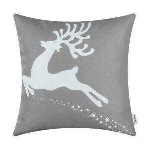 "CaliTime Cushion Covers Throw Pillow Shells Christmas Holiday Reindeer Stars 18"""